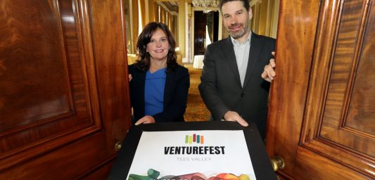 Simon Green, Director of Venturefest Tees Valley, and Professor Jane Turner, Pro Vice-Chancellor for Enterprise and Business Engagement at Teesside University, unveil the new event's branding at Wynyard Hall, the venue for the inaugural gathering.