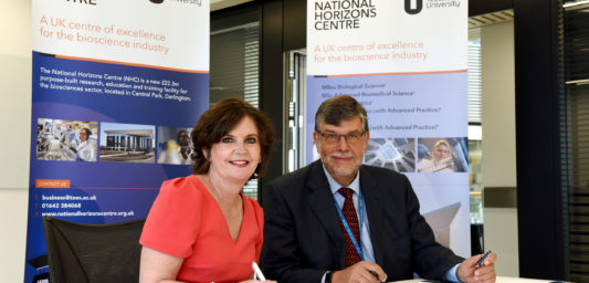 Photo: Professor Jane Turner OBE DL signing the Memorandum of Understanding with CPI Chief Executive Nigel Perry